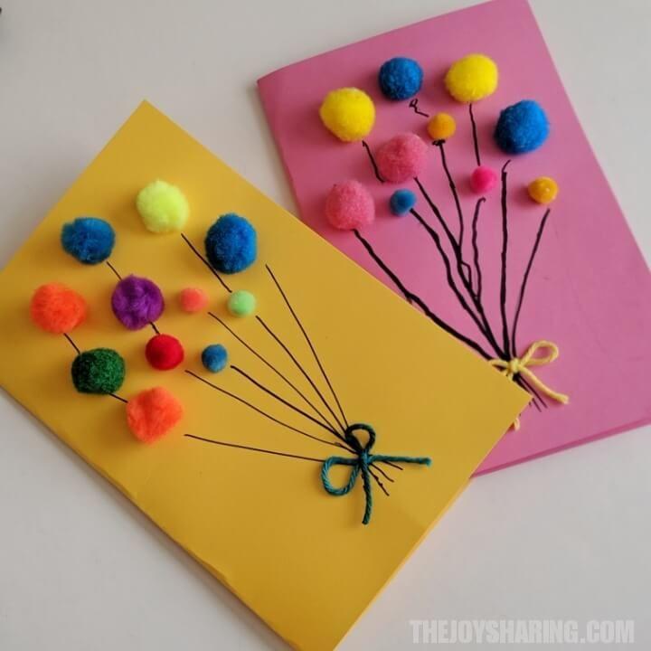 Pom Pom Balloons Birthday Card Birthday Card Craft Simple Birthday Cards Happy Birthday Cards Diy