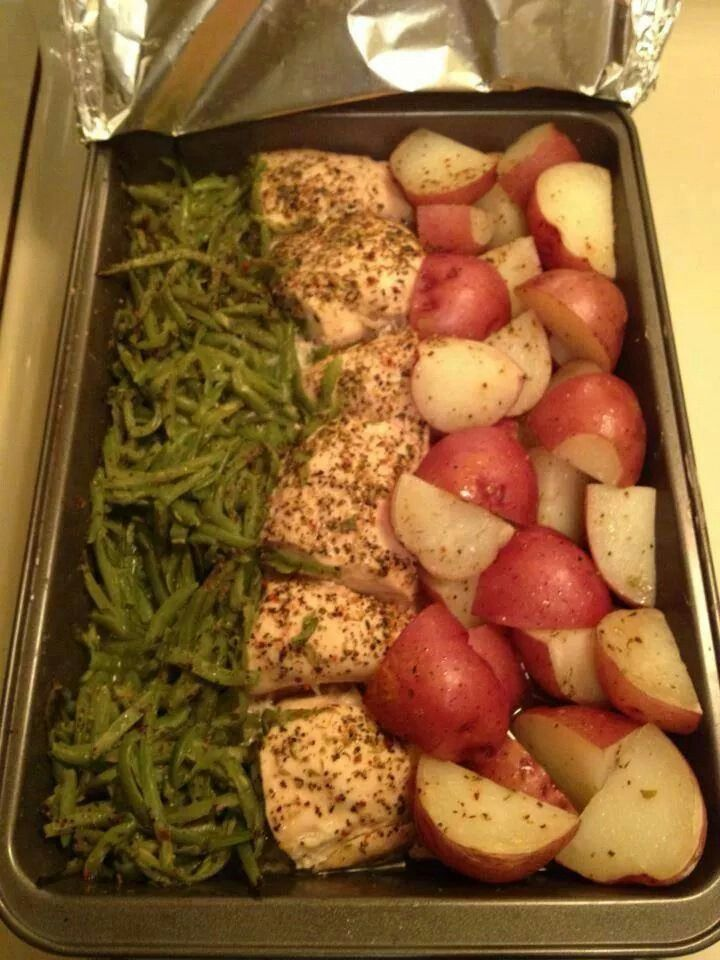 One pan dinner- In.9x13 pan cut 3 chiken breasts in half, place in center on pan. Add 2can of drained green beans and place on one zidd of the chicken. On the otbef side cut up red skin potatoes. Sprinkle zesty italian dressing mix over top and drizzle 1stick of butterover all. Coved with foil and coom 350 for 1hour.