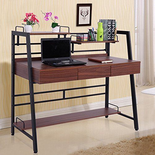 c61026e56c44 Best 2017 Study Wooden Table Or Computer / Laptop Desk Furniture with  Multi-Tier Shelf And Drawer Storage for Home Office And Bedroom Space, Brown