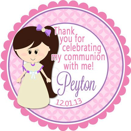 First Communion Personalized Stickers - Party Favor Labels, Christening, Holy Communion, Baptism, Confirmation - Wide Border Design by partyINK on Etsy