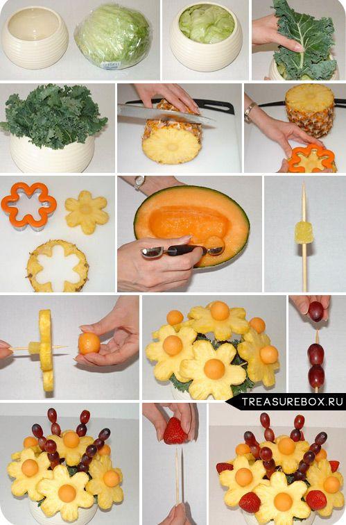 делать цветы и букеты из фруктов
