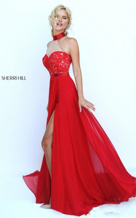 Open Back Sexy Cheap Sherri Hill Prom Dress Red 50223