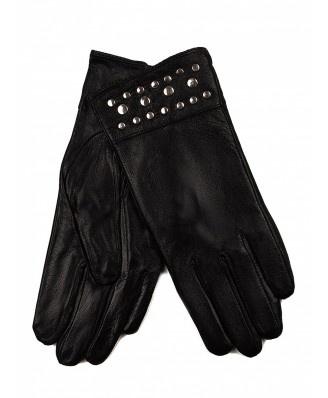 Eleganckie, czarne rękawiczki wykonane ze skóry ekologicznej - zdobione dżetami. Rękawiczki są ocieplane.