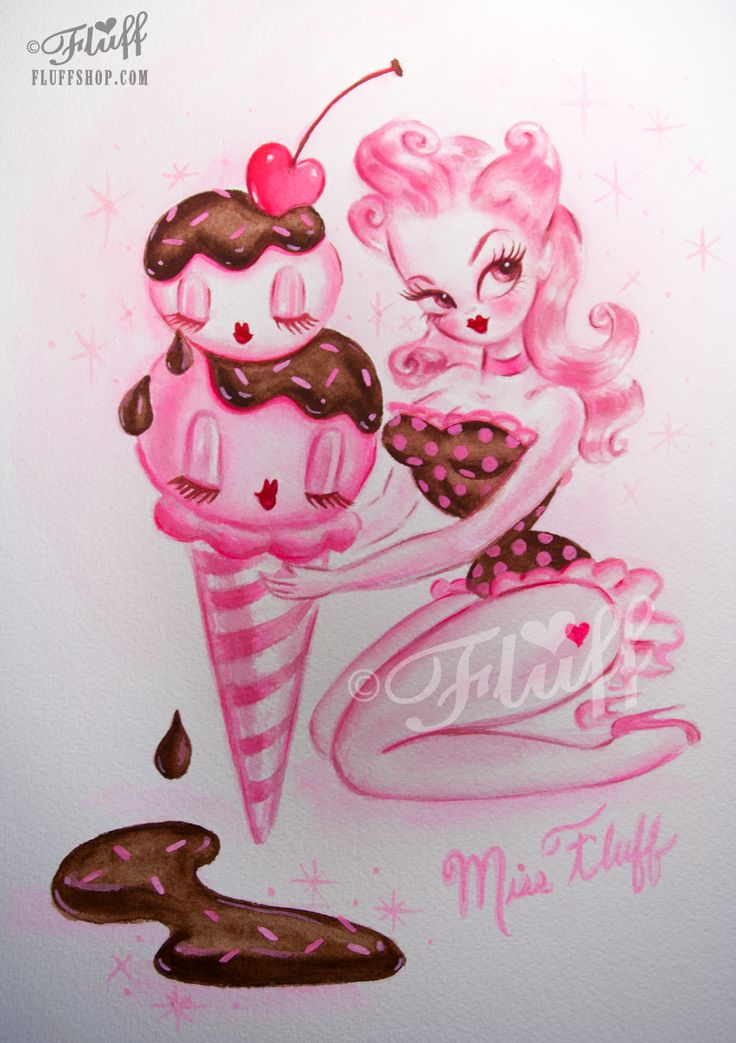 Pink Cherry with Chocolate Sauce Pin Up painting by Miss Fluff/ Claudette Barjoud original here: http://cgi.ebay.com/ws/eBayISAPI.dll?ViewItem&item=181390099916