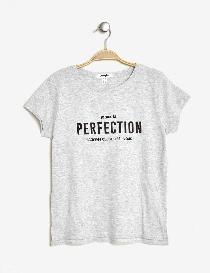 Tee-shirt imprimé gris chiné femme • Jennyfer