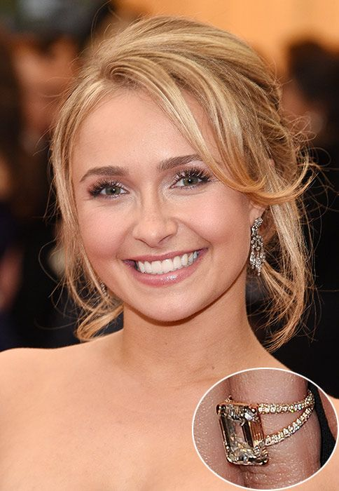 Hayden Panettiere ...  Hayden Panettiere flaunted her gorgeous split-shank diamond ring shortly after confirming her engagement to boxer Wladimir Klitschko in October 2013. Her sportsman beau knew she would like the six-carat, emerald-cut ring – Hayden actually designed it herself with the help of Montblanc.