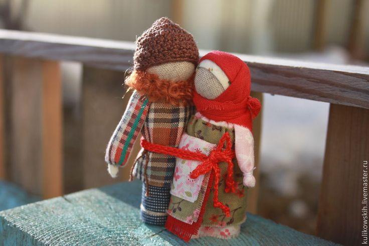 """Куколки Неразлучники """"Любовь земная"""" - бордовый,неразлучники,народная кукла"""