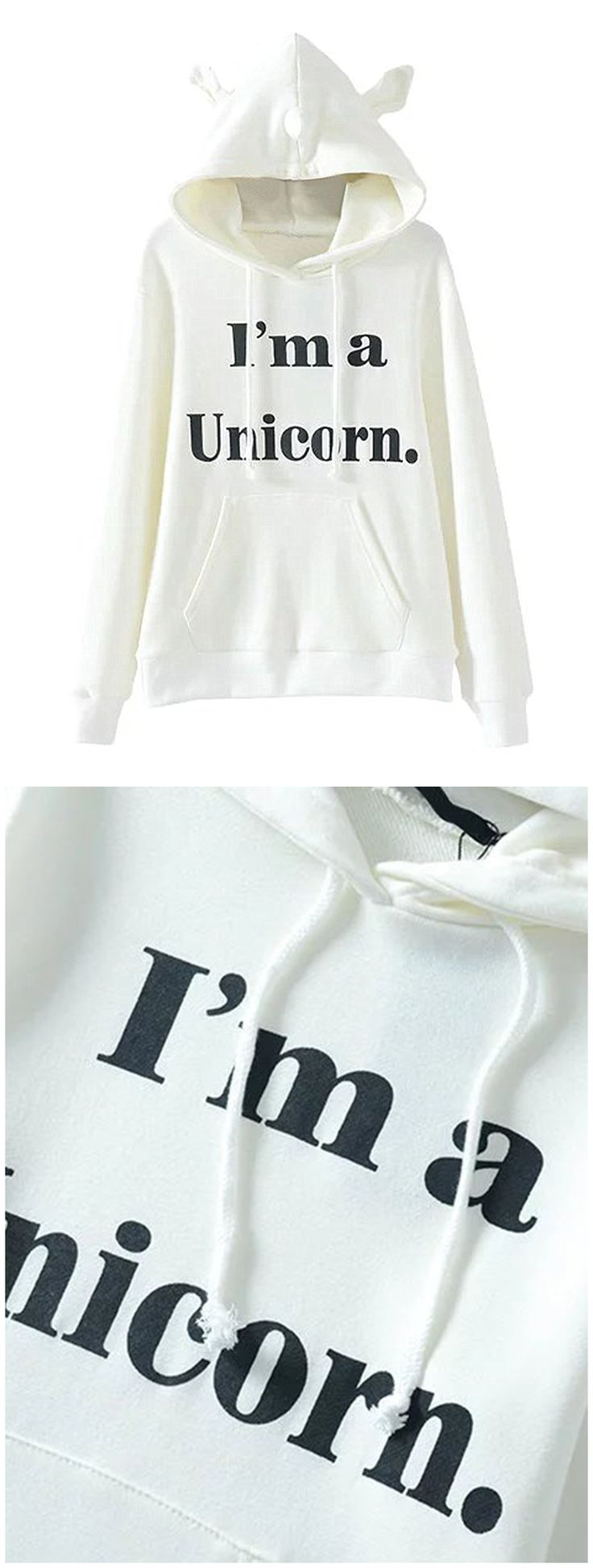 Clothink Women White Long Sleeve Letter Print Unicorn Hoodies Sweatshirt