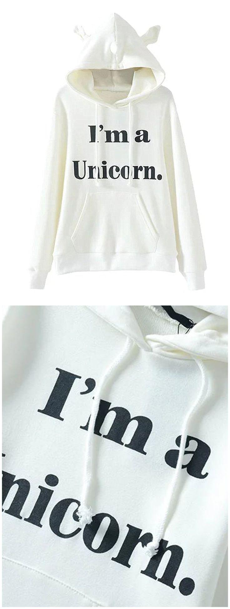 Clothink Women White Long Sleeve Letter Print Unicorn Hoodies Sweatshirt