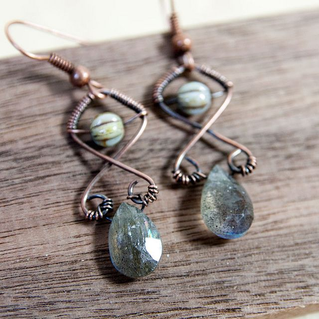 Labradorite Briolette Earrings with Hand Wrapped Copper Wire Design by Nanfan, via Flickr