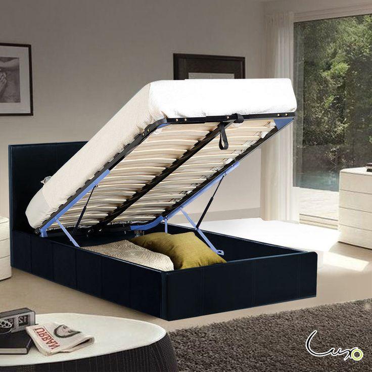 Sabina Storage Gas Lift King Single Bed Frame Black | Buy King Single Bed Frame