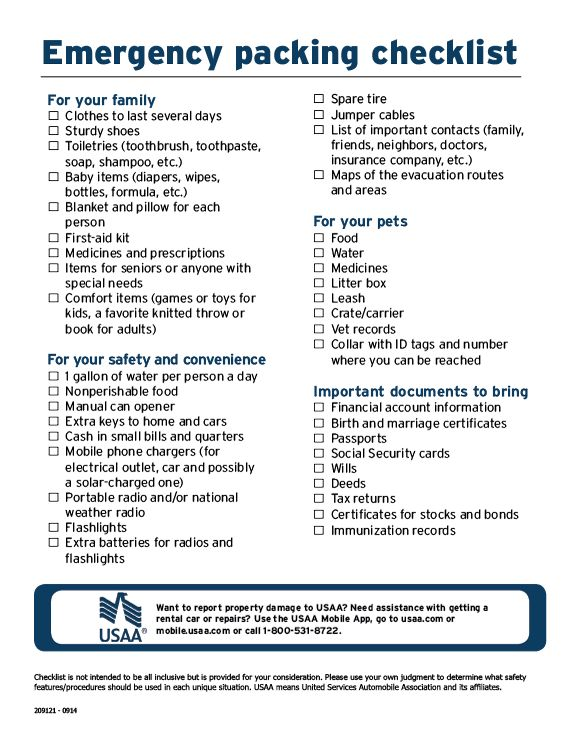 If a natural or man-made disaster happened tomorrow and you had to evacuate your home, would you know the appropriate items to bring with you? Make sure you're prepared with this Emergency Packing Checklist.