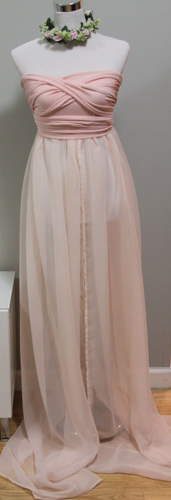 Infinity Maternity Gown, Photo Prop, jersey and chiffon blush pink on Etsy, $79.00