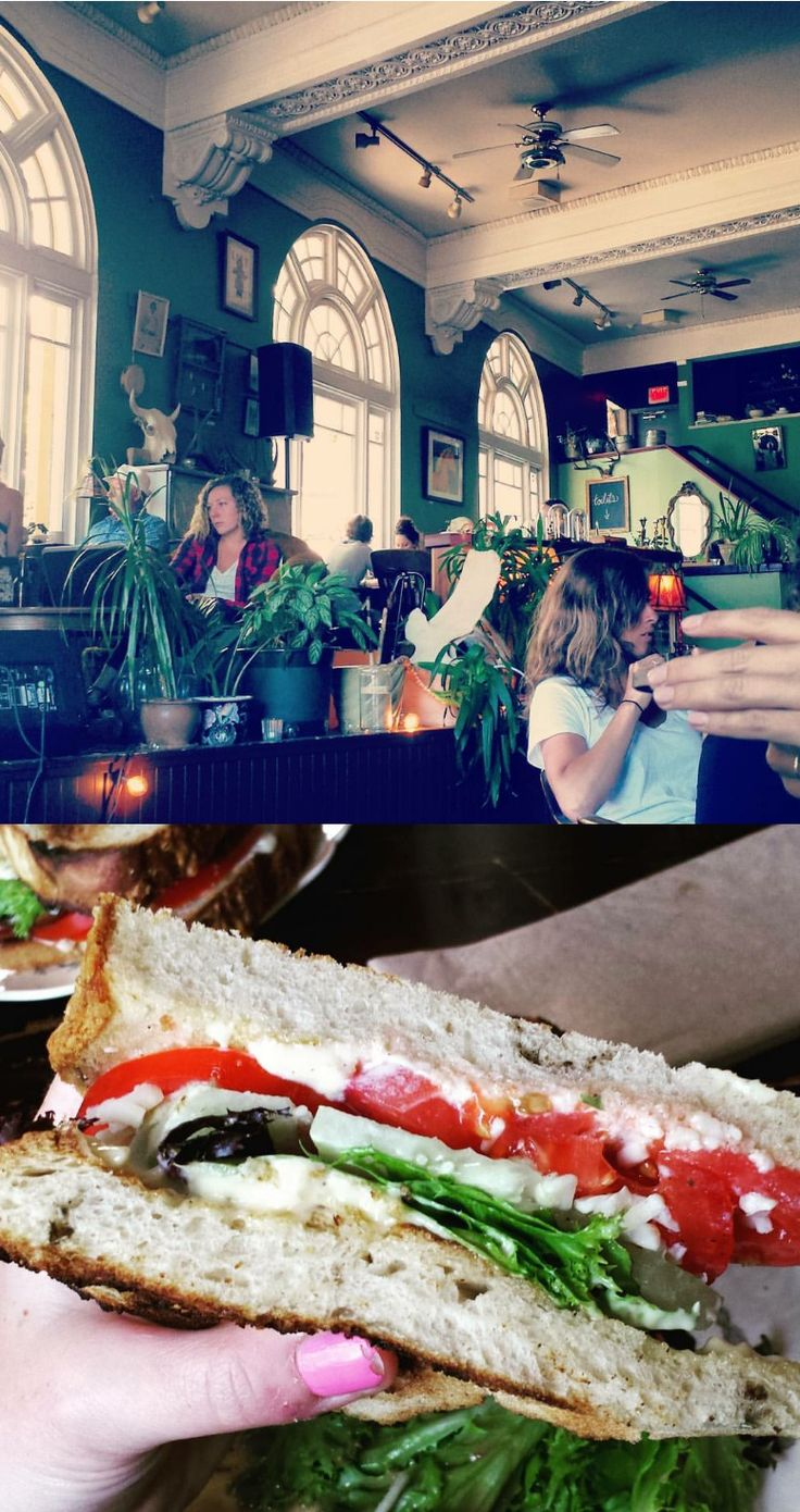 The Vault Cafe, Nanaimo. Vegetarian sandwich. We love this cafe for its eclectic, bohemian vibes. Crushed leather sofa, local artwork, scads of books and tall ceilings, it bleeds inspiration. Friendly service and delicious foodstuff to boot.