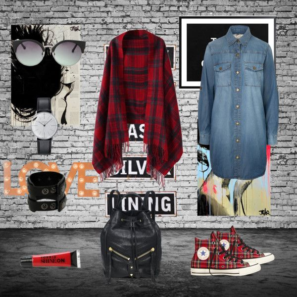 street style by andreeamoldo on Polyvore featuring Current/Elliott, Converse, Klein & more, Chicnova Fashion, MANGO and Silver Lining