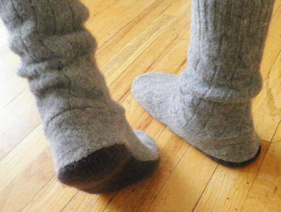 Sweater Slipper Boots and Boot Socks  -Child Large to adult men -  pdf PATTERN