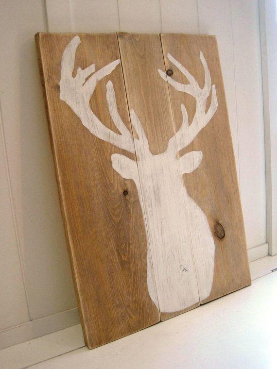 Deer Silhouette On Wood Antlers White Distressed