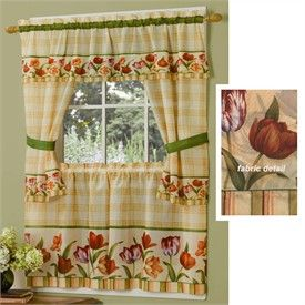 Floral Kitchen Curtains | Floral Curtains | Flower Print Tiers - Tulips Tailored Cottage Kitchen Curtain Set By Achim