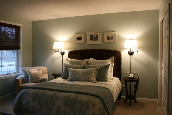 Guest Room, Pottery Barn Matine Toile Duvet Cover & Sham (Porcelain Blue) Garnet Hill Dream Quilt and Sham (Mineral Green) Pottery Barn Chelsea Swing-Arm Sconce Pottery Barn Seagrass Headboard Pottery Barn Wood Gallery Frames Sherwin Williams Rainwashed, Bedrooms Design