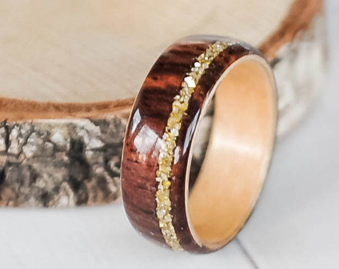 Wood Ring Cocobolo Ring Gold Ring Women S Wood Ring Wood