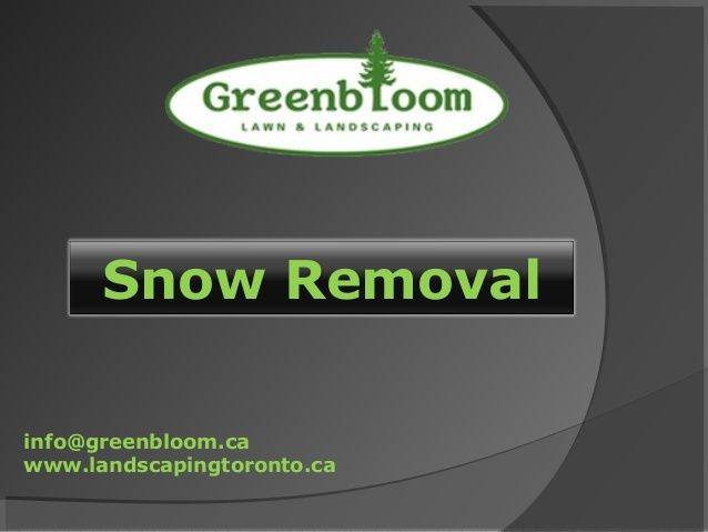 Our snow removal service is based around the plowing of snow and its relocation from your property. Contact Us:Greenbloom Landscape Design Inc., 500 Lawrence avenue west, Lawrence Plaza, City:Toronto, State:Ontario, Zip:M6A 3B7, Phone:647-500-5263, Fax:416-551-9854, WEB:www.landscapingtoronto.ca http://www.slideshare.net/GreenbloomLand/landscaping-toronto-snow-removal