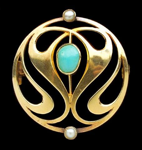 Arts & Crafts Brooch by Murrle Bennett & Co. : Gold and Turquoise , Stamped MBC & 15ct. circa 1900.  from Tadema Gallery