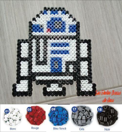 R2D2 Star Wars perler beads by Les perles Hama de Jess