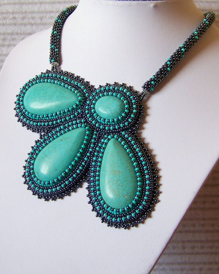 Turquoise Flower- Bead Embroidery Necklace with Turquoise. $120.00, via Etsy.