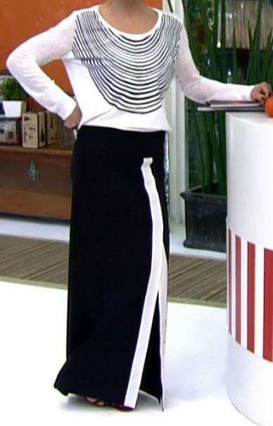 saia longa preta com blusa branca manga longa
