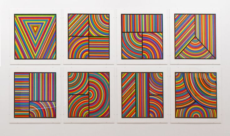Sol LeWitt, Color Bands (Wadsworth Portfolio), 2000, Suite of 8 Linocuts 29 x 29 in.