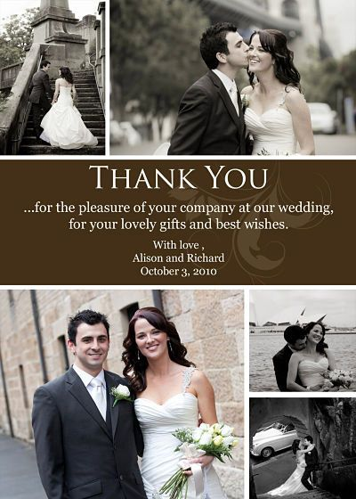 Wedding Thank You Photo Card Collage With Swirl By Dolcettodesigns