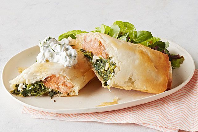 Serve up a delicious Salmon in Phyllo with Spinach & Feta! This recipe is perfect for a lunchtime bite and is easy to prepare at home.