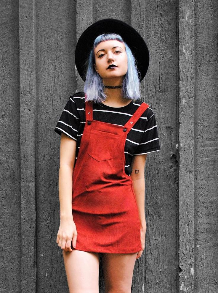 Round hat, choker, stripped top & red overall skirt by daeva101