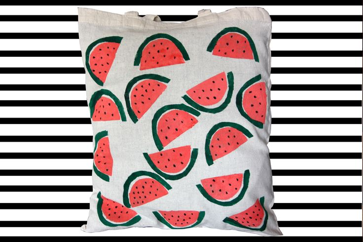 WATERMELON HAND PRINTED tote cotton canvas bag, colorfull bag