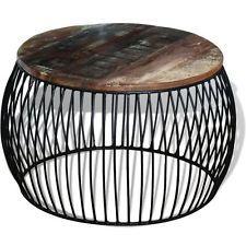 Unusual Coffee Table Garden Patio Round Side Metal Wood Outdoor Indoor Furniture