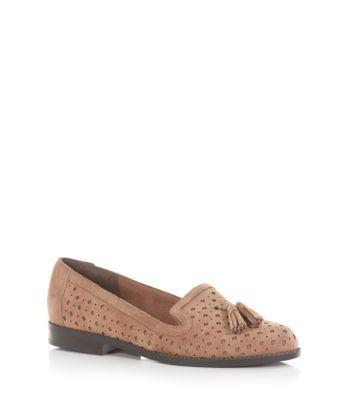 Beige Cut Out Tassel Loafers