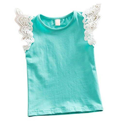 Kayla qin Baby Infant Girls Vest Tanks Tops Pure Cotton Wing Lace Basic T-shirt 3 Month-5 Years (1-2 Years, Blue)