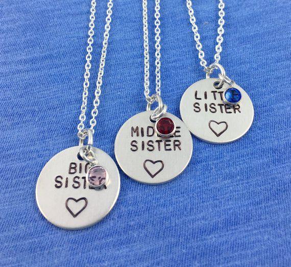 3 Sister necklace sister necklace for 3 2 by HandStampedTrinkets