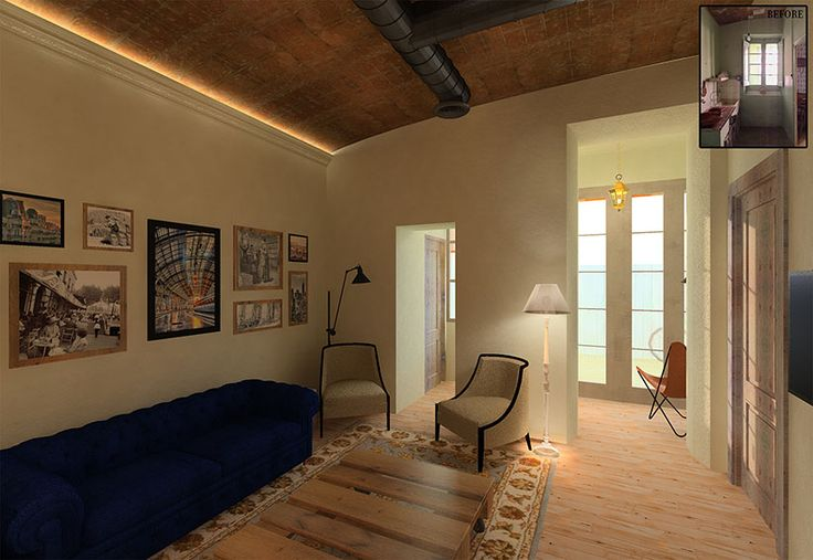Sustainable Apartment Restoration by The Old Green Corner | Restoration of an old industrial apartment using responsible materials and techniques. Here we see the living room connected to the sunroom at the back.
