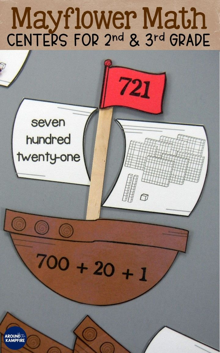 These 2nd and 3rd grade math centers are perfect for November math practice or a Thanksgiving math party! Your second and third graders will practice Mayflower and Plymouth Colony themed addition and subtraction of 2 or 3-digit numbers, working with number lines, place value and expanded form, comparing numbers, skip counting within 1000, adding 10's and 100's on a number line, telling time, and Plymouth Colony themed word problems.