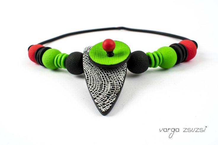 Polymer clay necklace Süthető gyurma nyaklánc Cernit, MOIKO silksreen, texture, suthetogyurma