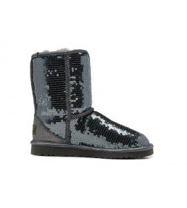 Womens Classic Short Neon Ankle Boots, Frozen Grey UGG