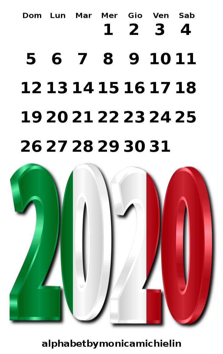 Calendario 2020 Modelle.2020 Flag Of Italy Calendar January 2020 Calendario 2020