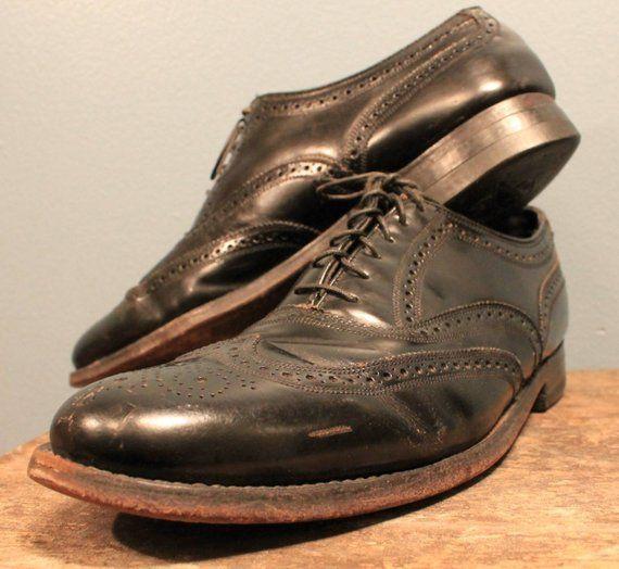 """103c4e138d13a Vintage 1960's Justin Diamon Black Wingtip Shoes """"The Florsheim Shoe ..."""