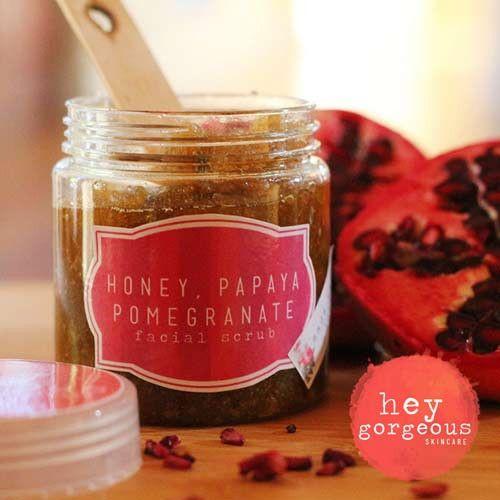 Honey, Papaya & Pomegranate Facial Scrub | Hey Gorgeous