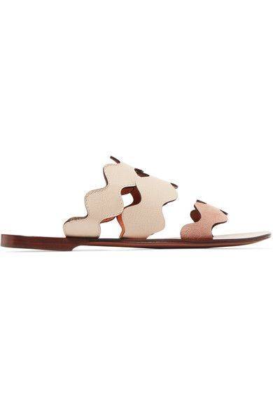Chloé - Scalloped Leather And Suede Sandals - Neutral - IT35.5