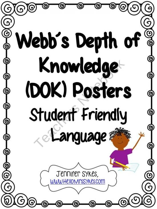 Webbs Depth of Knowledge Common Core Posters from HelloMrsSykes on TeachersNotebook.com (13 pages) - Webb's Depth of Knowledge Common Core Posters