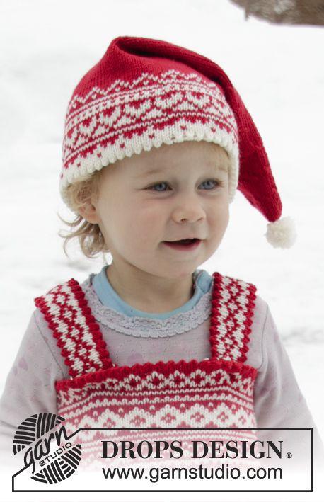 Gorro de punto para Navidad para bebés y niños en DROPS BabyMerino con  patrón de jacquard nórdico. Tallas 6 9 meses – 12 años. d5daad77411