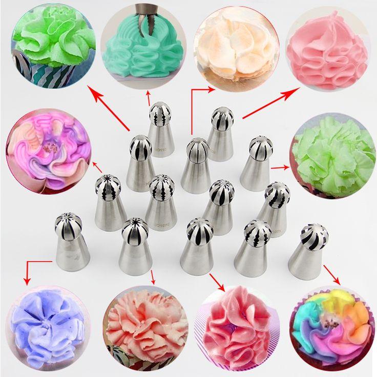 14 stücke Kugel Ball Form Creme Edelstahl Russische Zuckerglasur-friedliche Düse Gebäck Cupcake Tipps Bicos De Confeitar