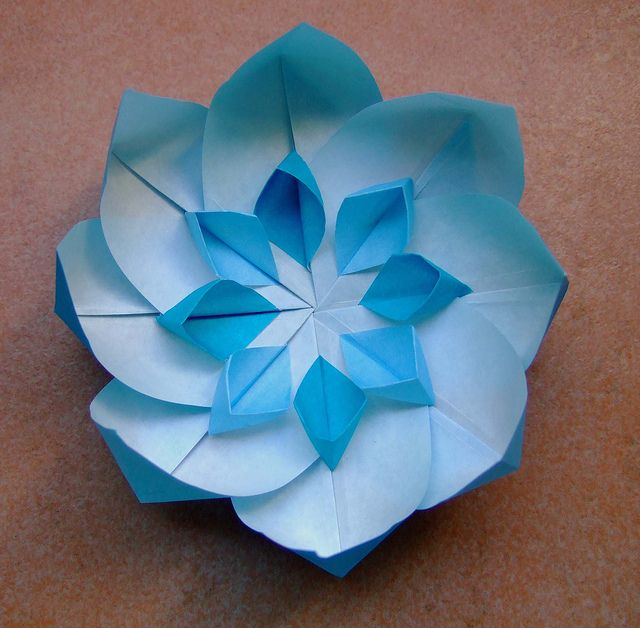 Blue Origami Flower With White Star By Evi Binzinger